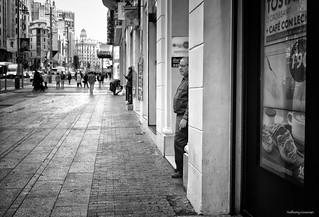 Streets of Madrid. Cigarette brake.