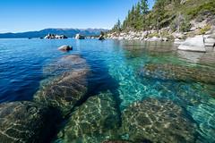 Boulders under clear waters of Lake Tahoe