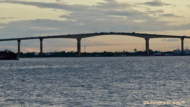 Sunset over Jules Wijdenbosch Bridge, Paramaribo, Suriname