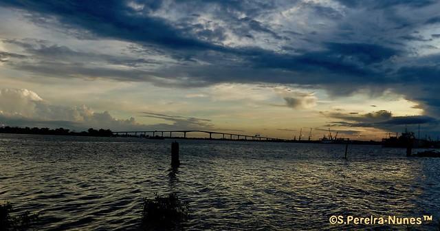 Sunset over Bridge Jules Wiijdenbosch on the Suriname River, Paramaribo, Suriname