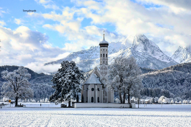 Church on the crossing to Schwangau, Bavaria, Germany