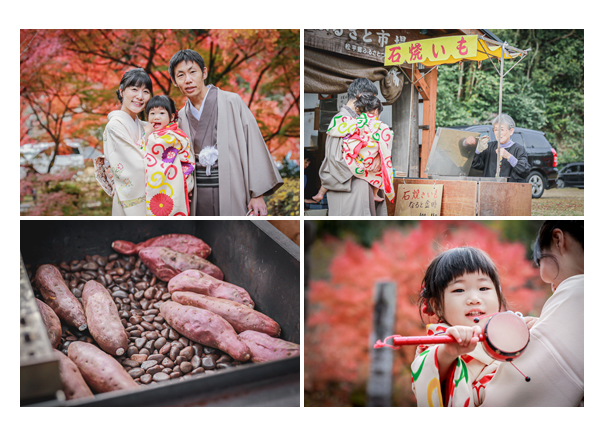七五三 11月下旬の紅葉 色づいたモミジ 焼き芋を食べて休憩♪