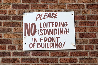 Please, no loitering (standing) in front of building, hand-lettered sign, Flatbush, Brooklyn