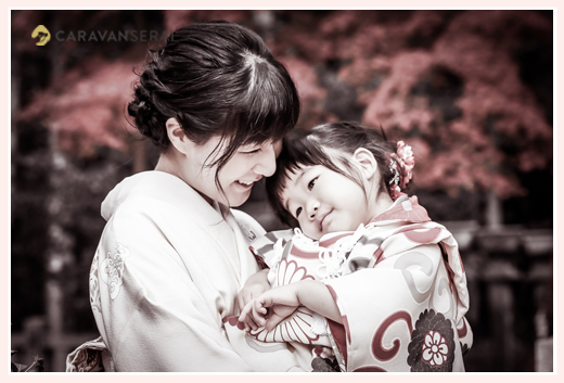 七五三 紅葉シーズン ママと女の子 着物・和装