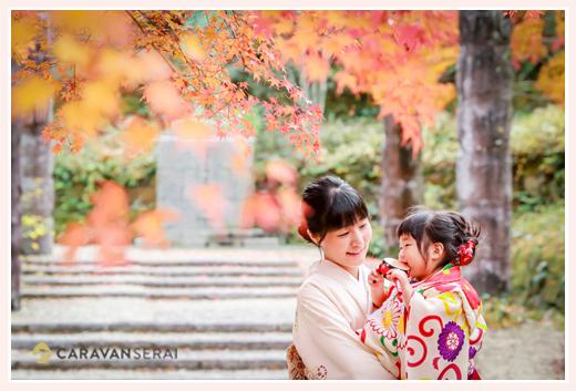七五三 11月下旬の紅葉シーズンはオススメ! モミジ アンティーク着物