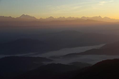 himalayan himalayas himalaya mountain sunrise dawn nagarkot nepal asia
