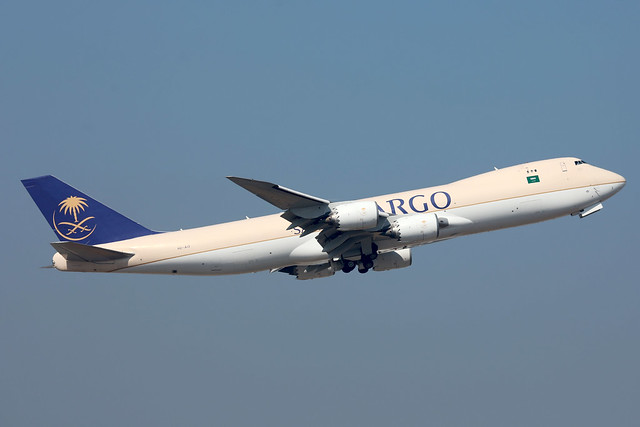Saudia Cargo B747-8F HZ-AI3 departing HKG/VHHH