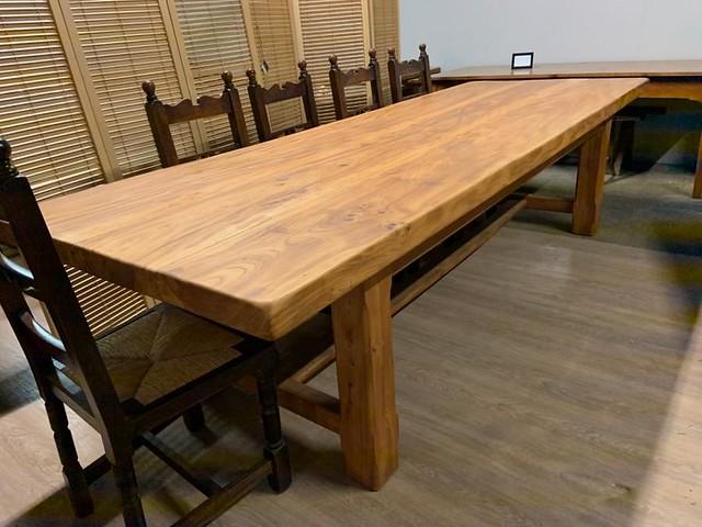 Large wide Pale Elm Farmhouse Table