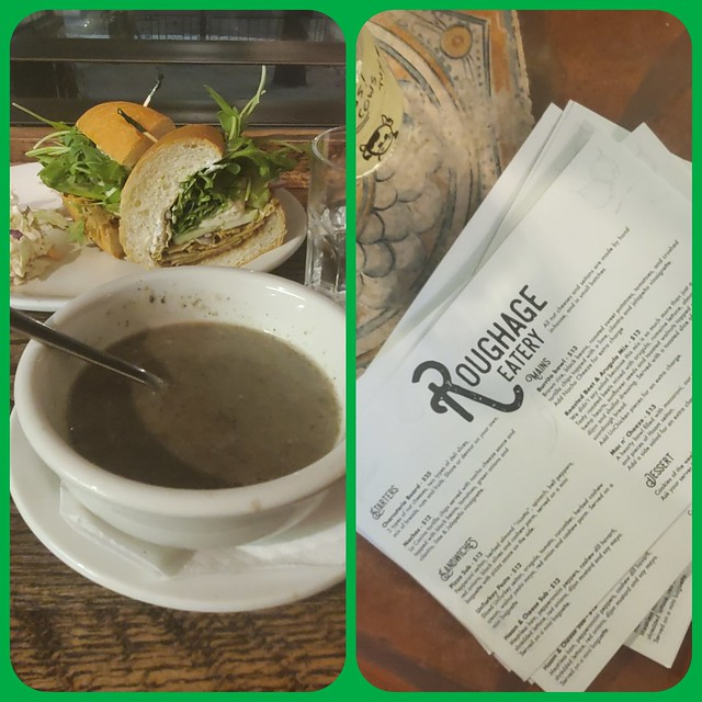 Roughage Vegan Restaurant - amazing Mushroom-Cashew Soup with a Turkey-Apple-Brie Sub