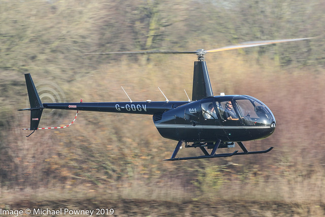 G-CDCV - 2004 build Robinson R44 Raven II, inbound to Barton for a re-fuel