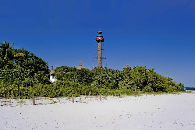 Sanibel Island Light, 2 Periwinkle Way, Sanibel, Florida, USA / Year first lit 1884 / Tower height: 98 feet (30 m) / Construction material: iron