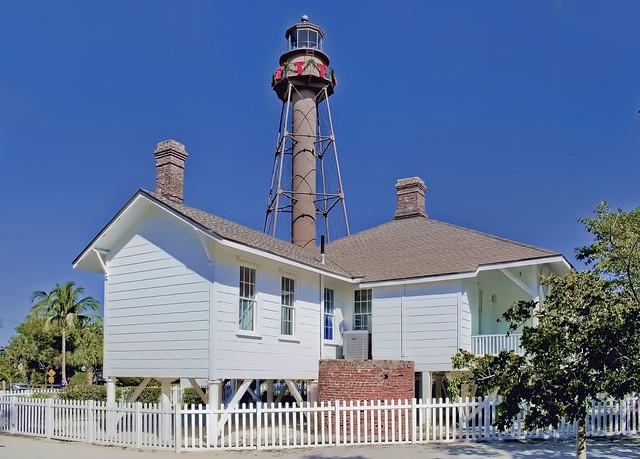 Sanibel Island Light, 2 Periwinkle Way, Sanibel, Florida, USA / Year first lit 1884 / Tower height: 98 feet (30 m), Construction material: iron