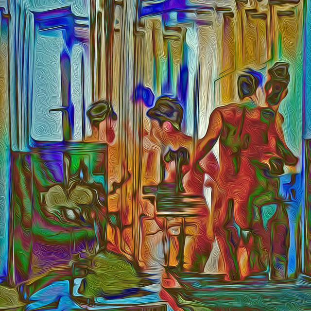 Bildschichten Frau im Hotelzimmer 02