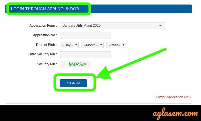 JEE Main Login via Application Number and DoB