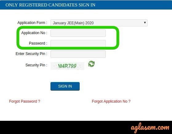 JEE Main Login via Application Number and Password