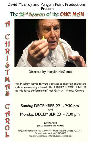 "The ONE-MAN ""A Christmas Carol"" - Photo credit: Bonnie Sprung"