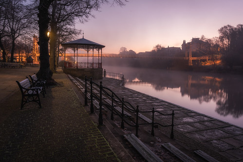 chester groves queens park suspension bridge cheshire winter sunrise cold misty mist