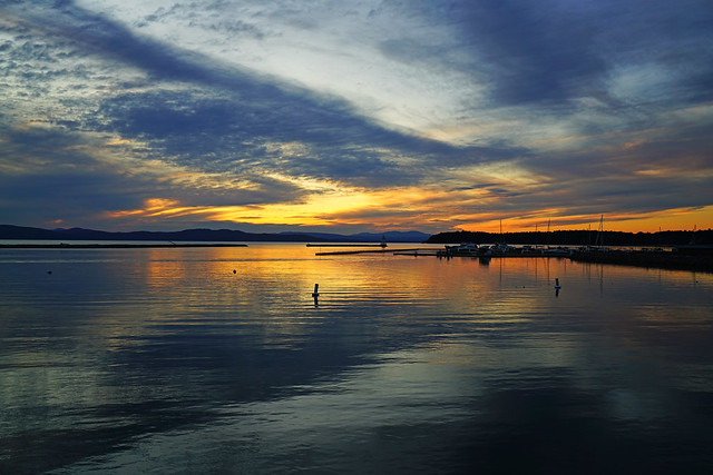 Stunning reflection in the Lake Champlain at sunset, Vermont