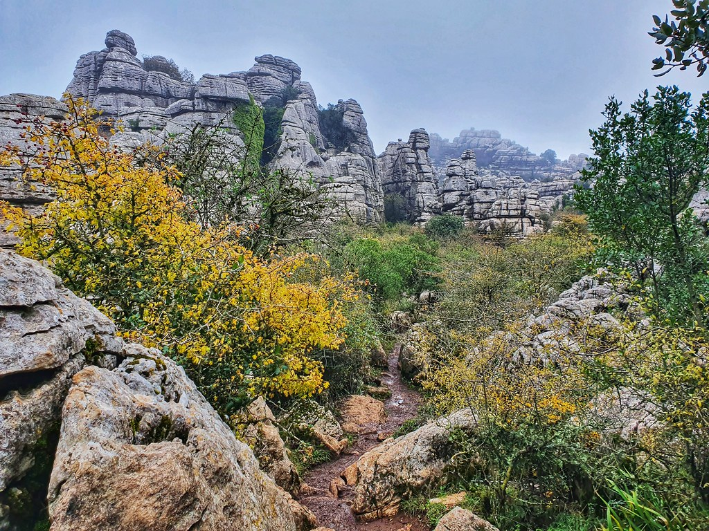 The path descents through the rocks, near a tree with yellow leaves on the left. In front there are many rock formations, with boulders that seem put on top of each other.