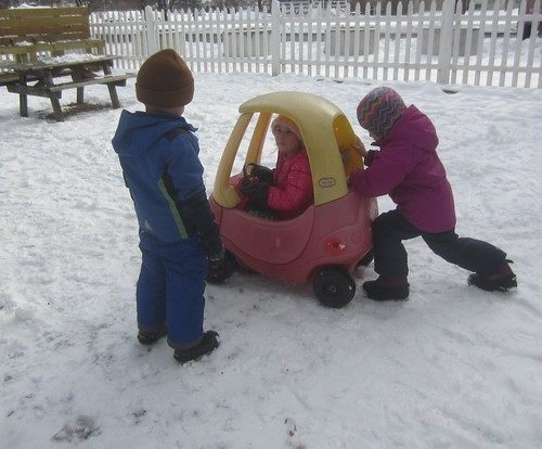 going for a ride on a snowy day