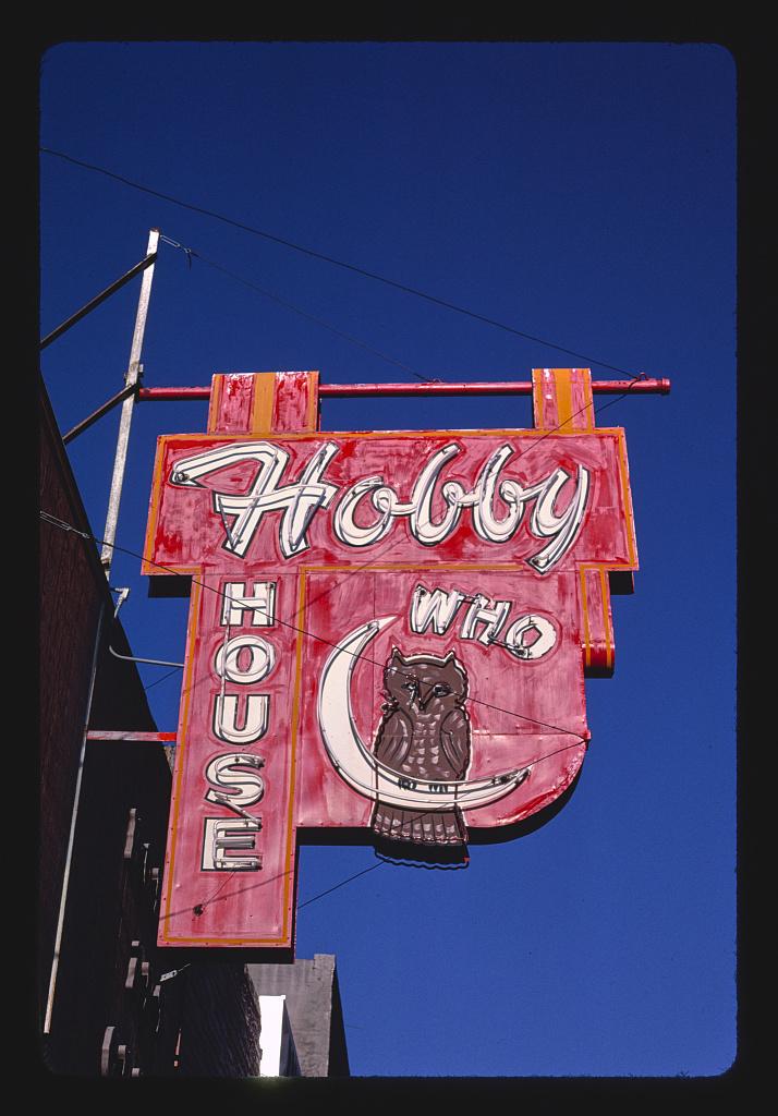 Hobby House sign, Main Street, Rapid City, South Dakota (LOC)