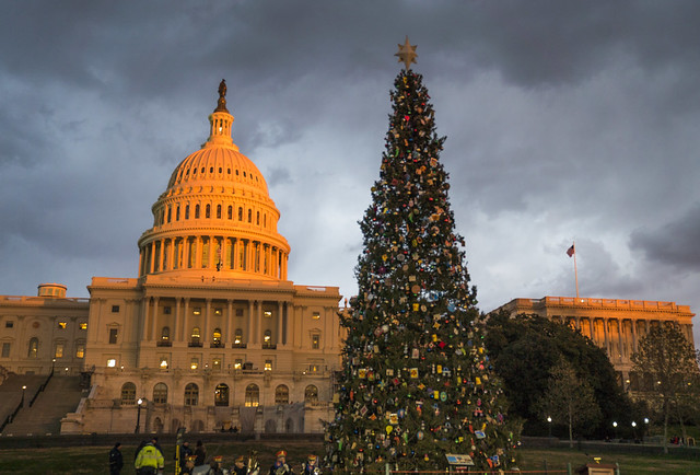 The U.S. Army Brass Quintet performs in front of the adorned U.S. Capitol Christmas Tree