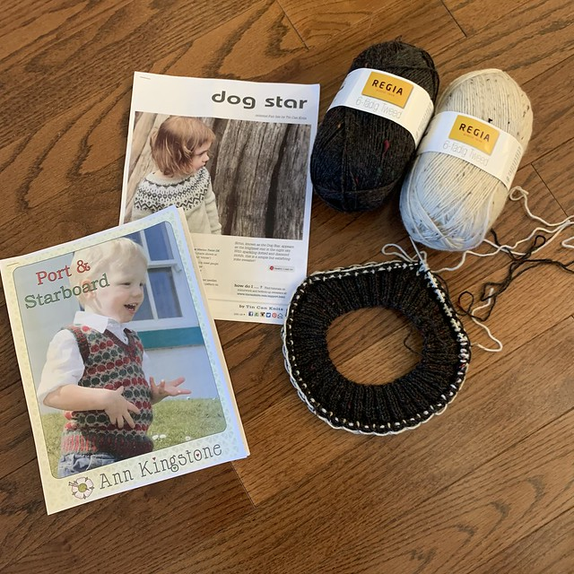 I am starting the vests for my grandsons really late!! I am using a combination of Port and Starboard by Ann Kingstone and Dog Star by tincanknits