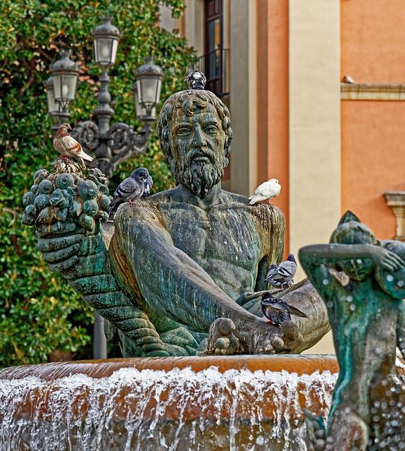Neptune - Turia Fountain (Plaza de la Virgin - Valencia) (Cropped) Panasonic S1 & Lumix 24-105mm f4 Zoom (DxO Edited)