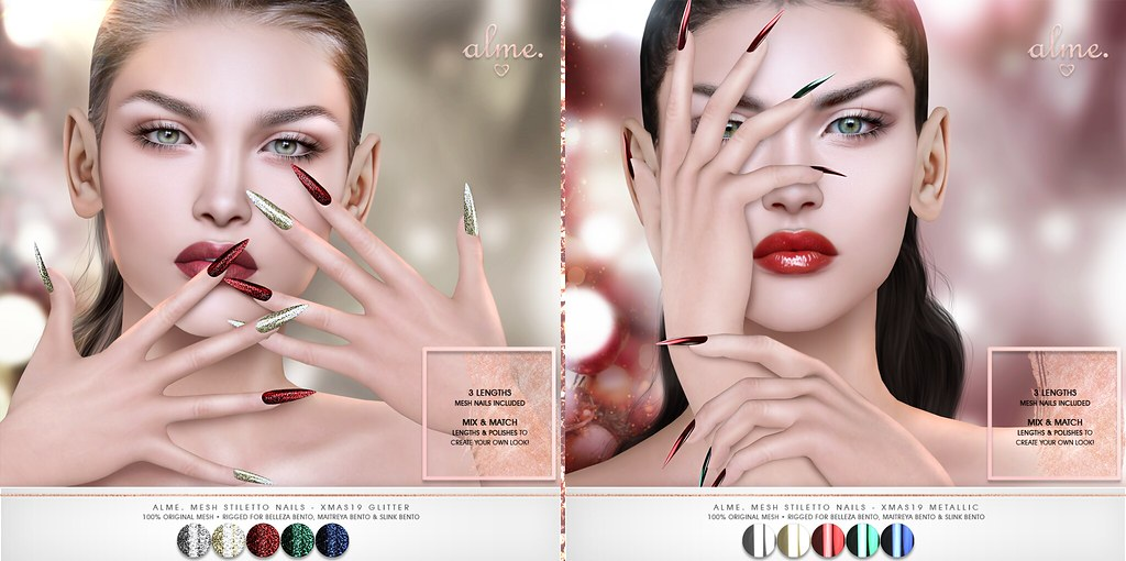 "Alme. // Mainstore Promo Release + Saturday Sale! ""Alme Mesh Stiletto nails// Xmas2019 Glitter & Metallic"" ♥"