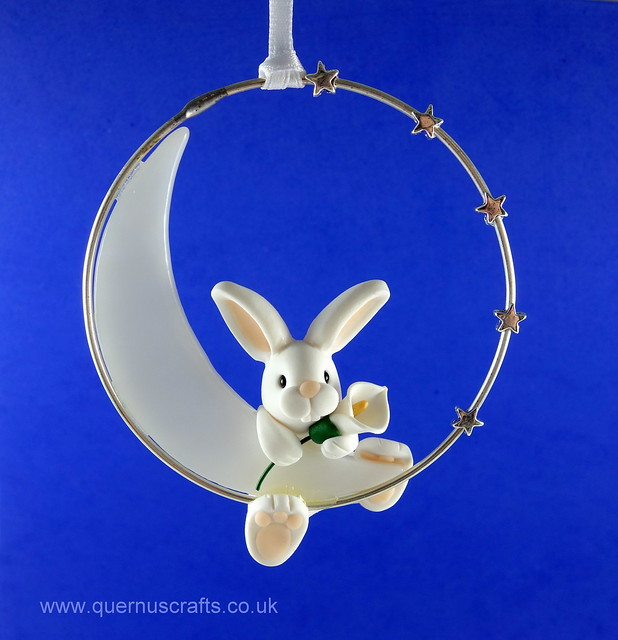 Little Bunny with Lily on Glass Moon