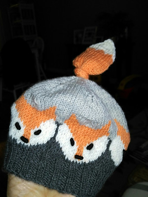 The Fox Hat by Eva Norum Olsen that Jocelyne knit her granddaughter turned out super cute but not stretchy enough to fit!