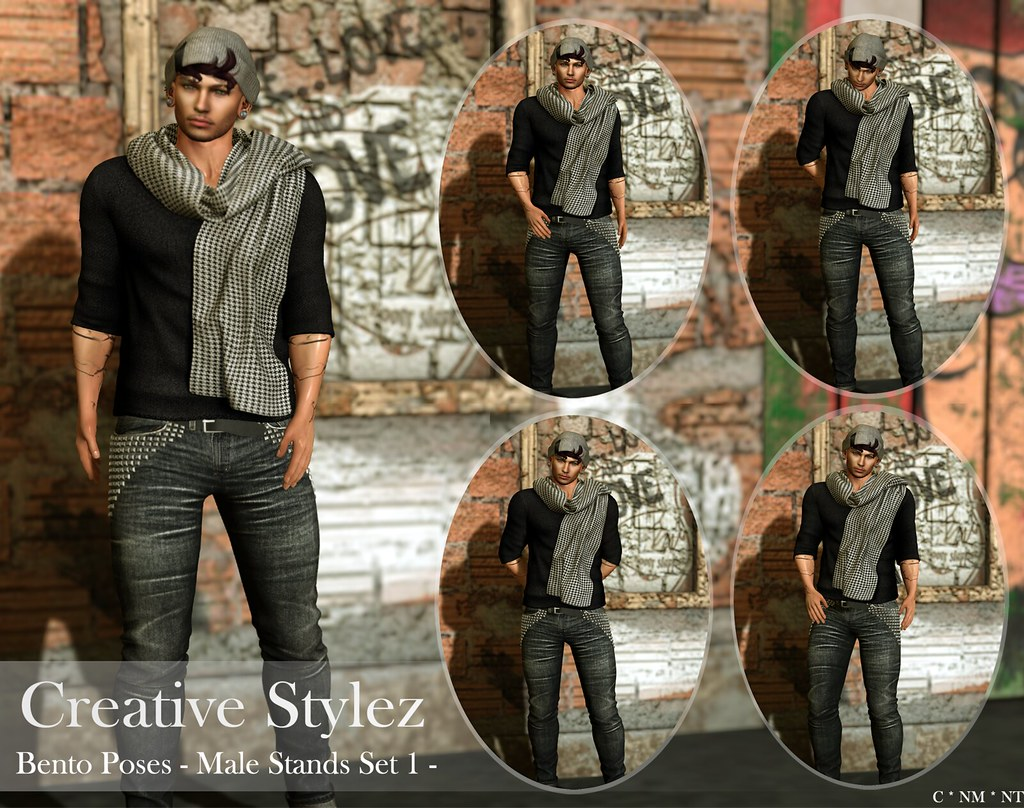 Creative Stylez – Bento Poses – Male Stands Set 1 –
