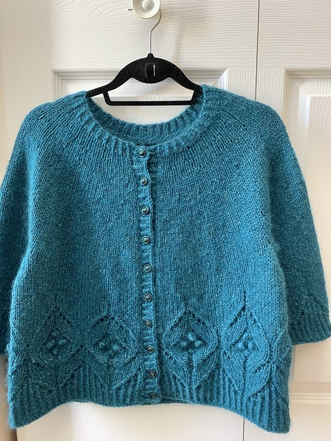 I finished my Magnolia Chunky Cardigan by Camilla Vad. I used The Fibre Co. Arranmore Light in Kinnego Bay and Drops Kid Silk in Petrol.