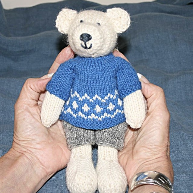 Jeannie has been having a lot of fun knitting up here Little Cotton Rabbit menagerie too! Here is another Boy Bear!