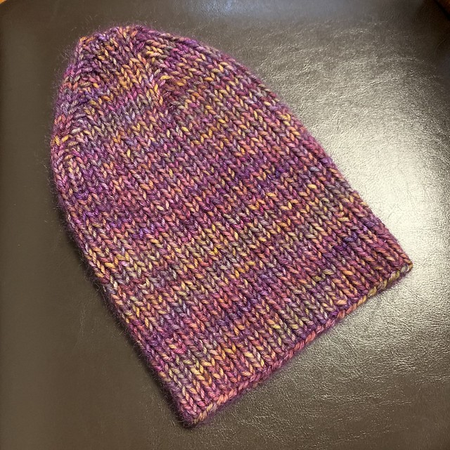 Aileen's On the C Train Hat by Espace Tricot knit using Malabrigo Rios held double with Garnstudio Drops Kid Silk