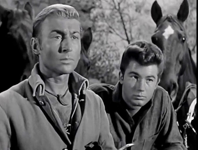 """Nick Adams and Jack Chaplain in """"The Last Drink,"""" an episode of """"The Rebel"""" from 2/26/1961."""