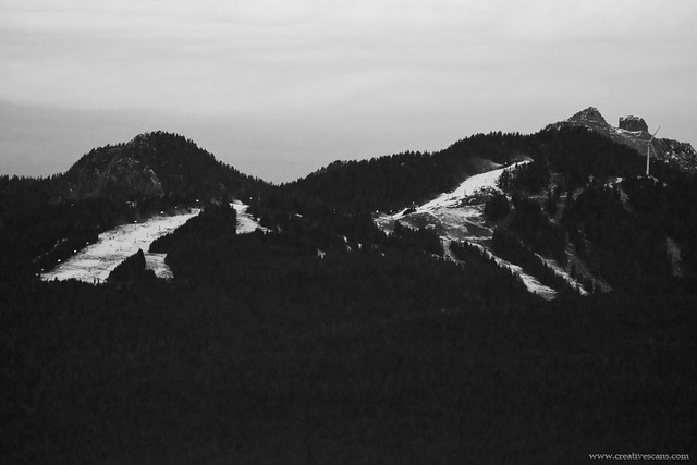 Mountains in black and white.