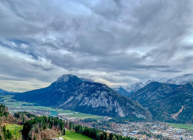 Kaiser mountains and river Inn valley seen from Thierberg, Tyrol, Austria