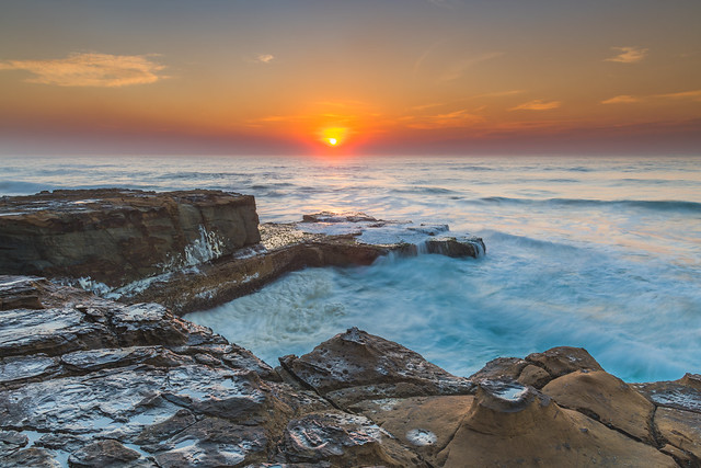 Rocky Smoke Haze Sunrise Seascape