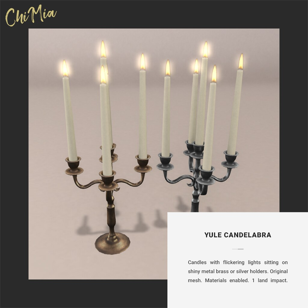 Wanderlust Weekend 7-8 Dec '19: Yule Candelabras by ChiMia