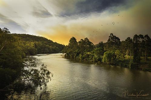 colo hawkesbury bush fires sunset river australia