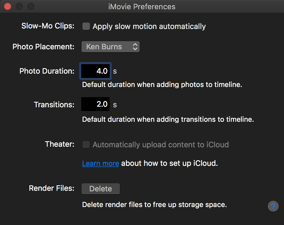 iMovie Preferences for Photo Slideshow