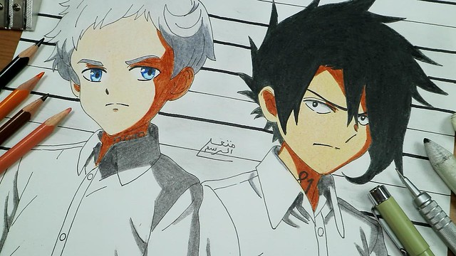 how-to-draw-Ray-&-Norman-The-Promised-Neverland