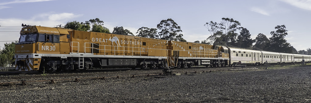 Journey Beyond Rail's inaugural luxury rail journey, Great Southern, as 6AT8 travelling from Adelaide to Brisbane with Pacific National loco's NR30 & NR31 by Paul Leader - Paulie's Time Off Photography