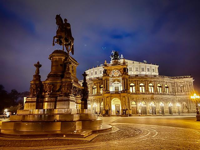 Statue of King Johann at Semperoper Dresden Germany at Night