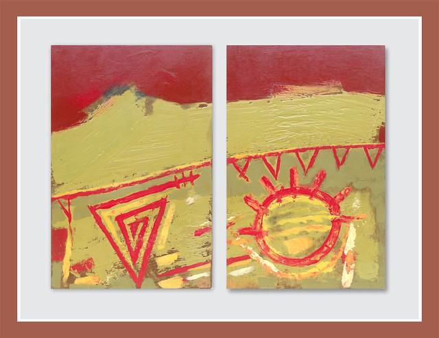 Sol y triángulos - Acrílico - Diptico