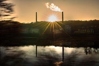 Industrial shore at the Elbe river