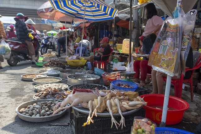 Chicken and seafood on street market in Duong Dong Phu Quoc, Vietnam.