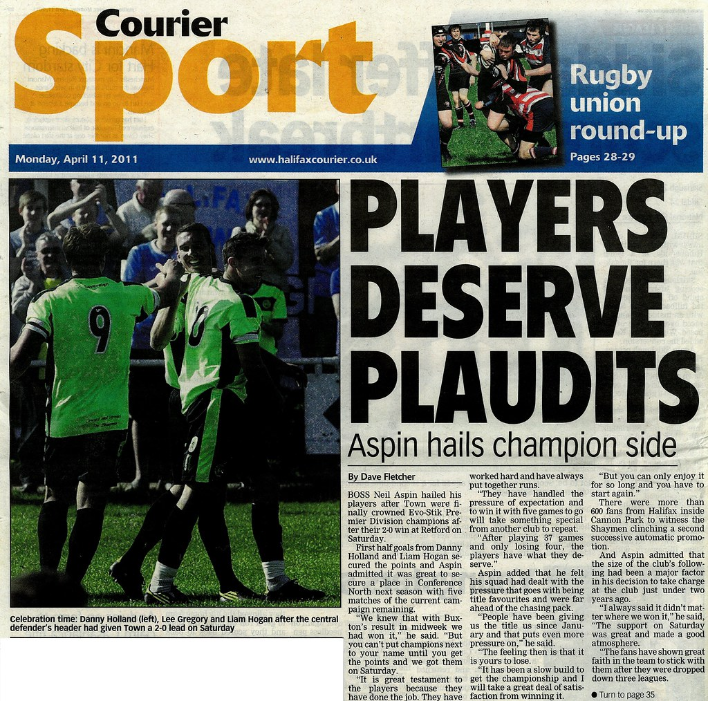 11-04-2011 Halifax Courier Players Deserve Plaudits