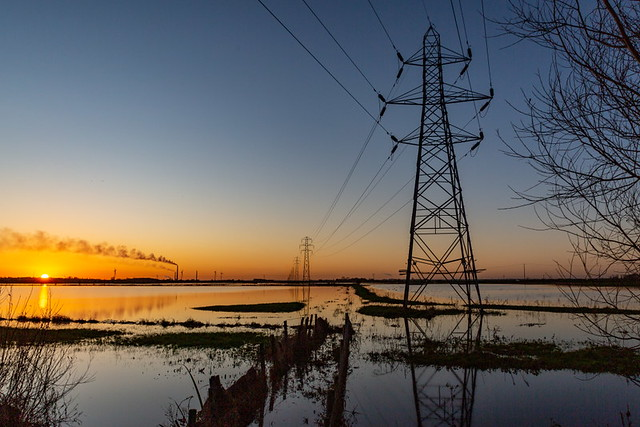 Thorney Flood Sunset Pylons 6